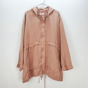 LUCKY BRAND | distressed rose zip & snap jacket